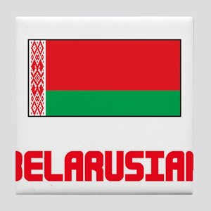 Belarusian Flag Design Tile Coaster